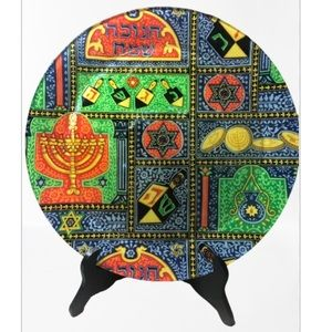 Glass Hanukkah Serving Plate